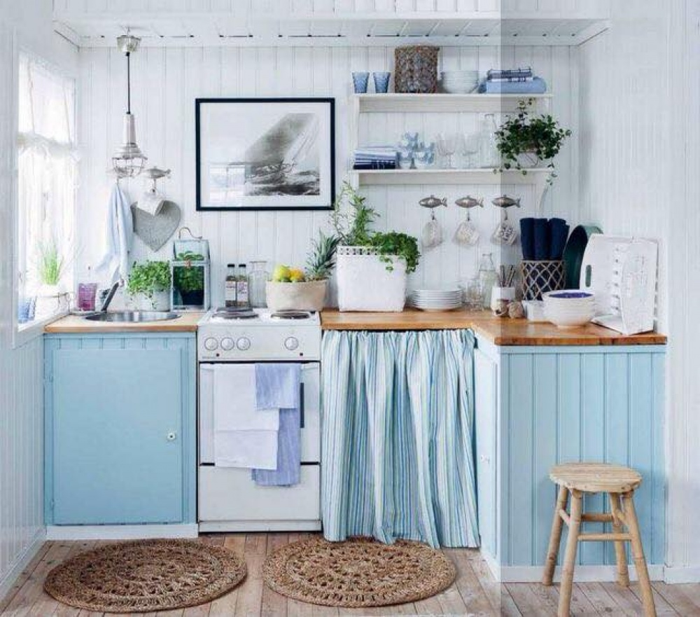 Vintage Beach Cottage Kitchens Designs With Blue Color: ห้องครัว แบบห้องครัว แต่งห้องครัว ตกแต่งห้องครัว
